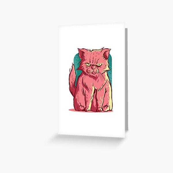 Grumpy Cute Kitty Cat Desing Greeting Card