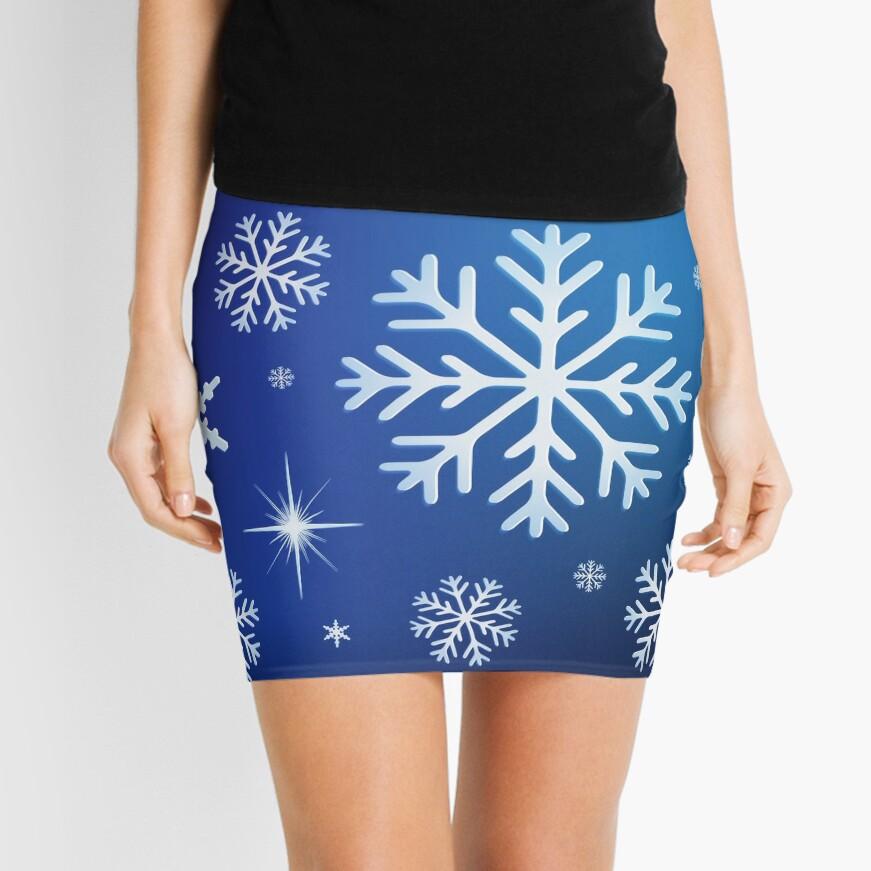 Snowflake Background - Blue Mini Skirt
