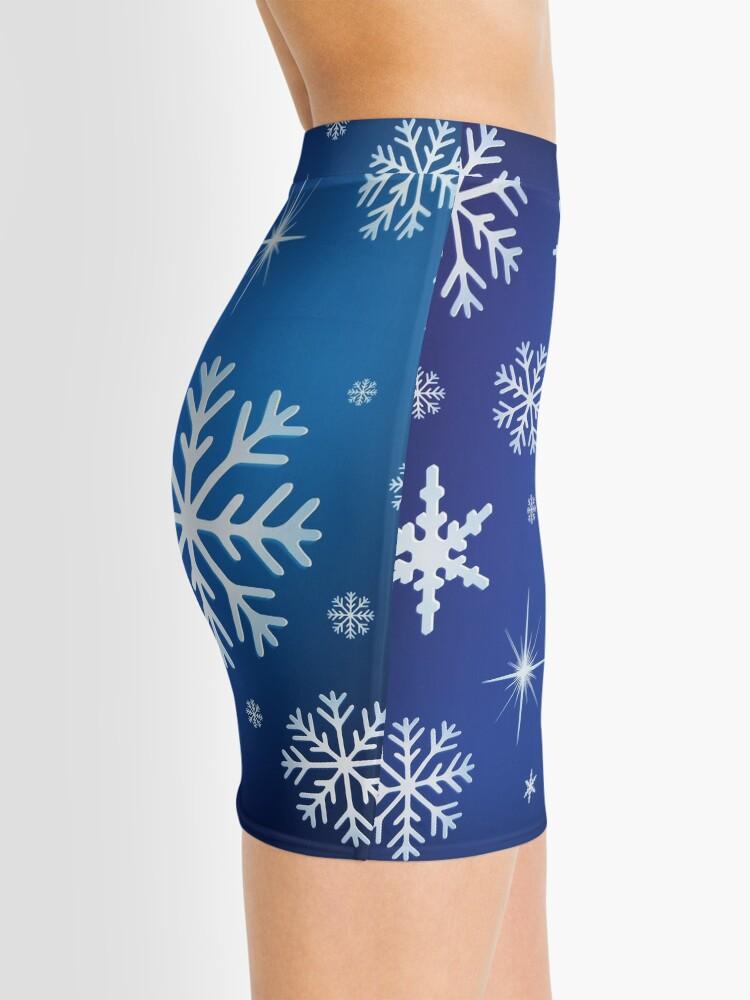 Alternate view of Snowflake Background - Blue Mini Skirt