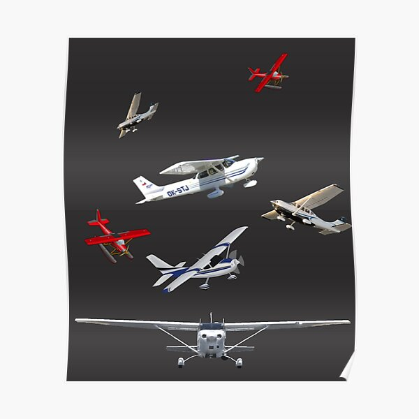 cessna logo with different type of avion family  Poster