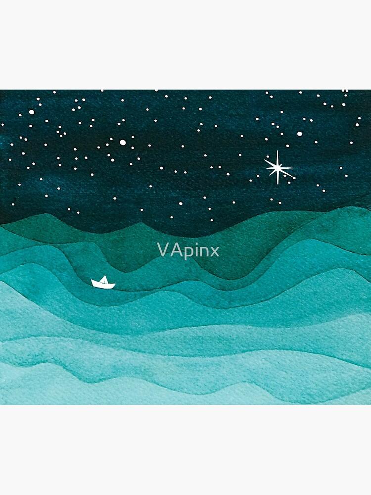 Starry Ocean, teal sailboat watercolor sea waves night by VApinx