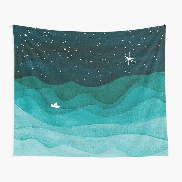Starry Ocean, teal sailboat watercolor sea waves night Tapestry