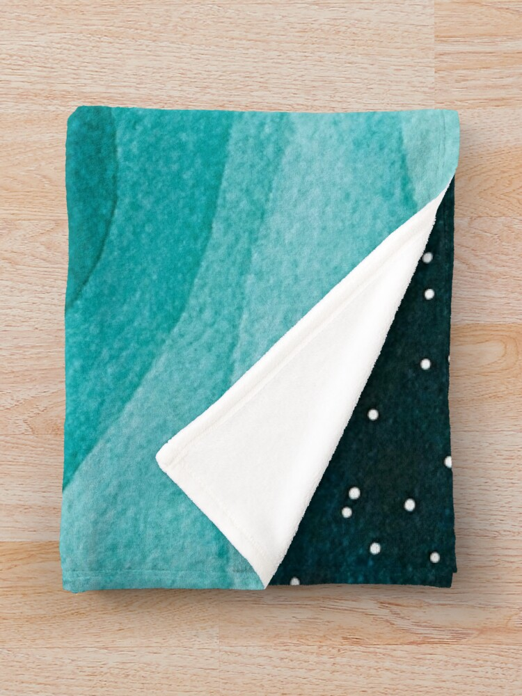 Alternate view of Starry Ocean, teal sailboat watercolor sea waves night Throw Blanket