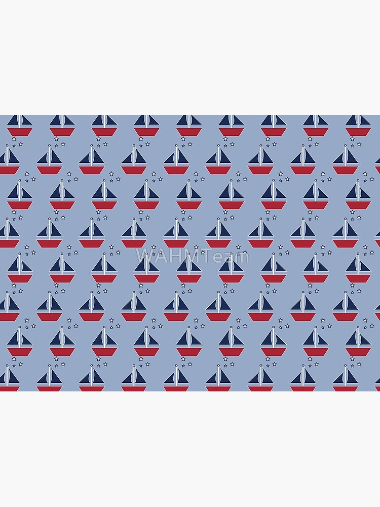 Sailboats, Nautical Theme, Blue and Red Boats by WAHMTeam