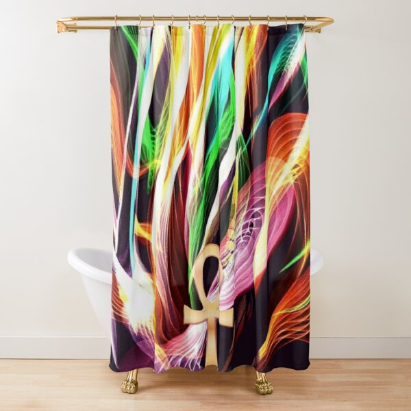 Rainbow Fire Ankh Shower Curtain