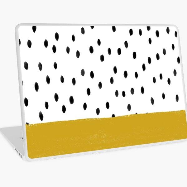 Dalmatian Polka Dot Spots with Mustard Yellow Stripe (black/white/yellow) Laptop Skin