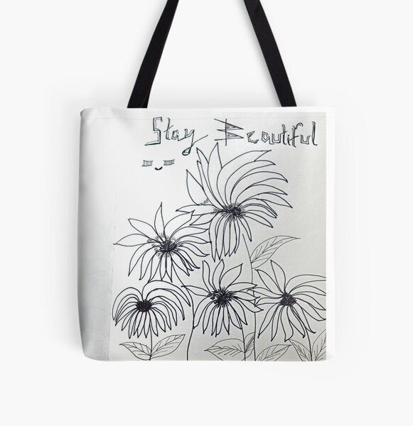 Sunflowers Doodle Art All Over Print Tote Bag