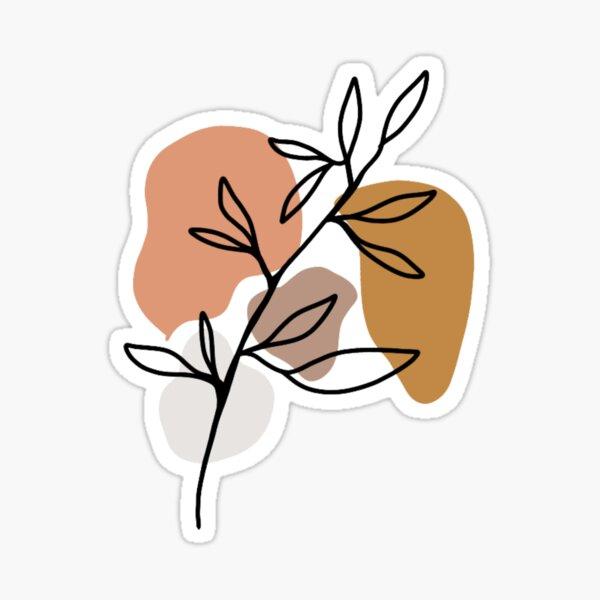 Minimalistic Earth Tone Leaves Sticker