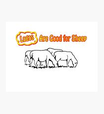 Logos are Good for Sheep White Photographic Print