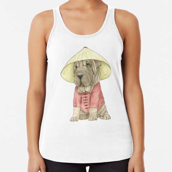 Shar Pei on The Great Wall Racerback Tank Top