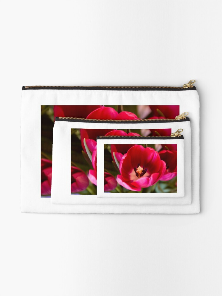 Alternate view of Red Tulip Zipper Pouch