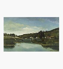 Camille Pissarro - The Marne at Chennevieres 1864  French Impressionism Landscape Photographic Print