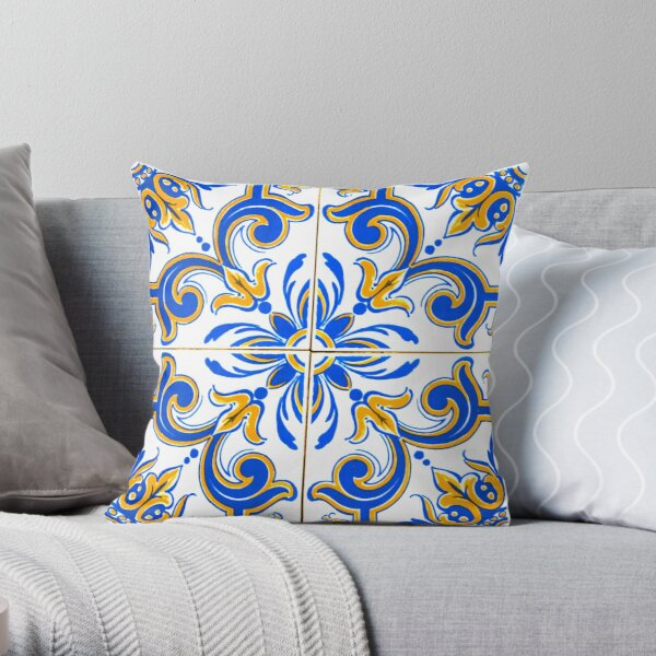 Blue and Yellow Traditional Portugese Tiles Pattern Throw Pillow