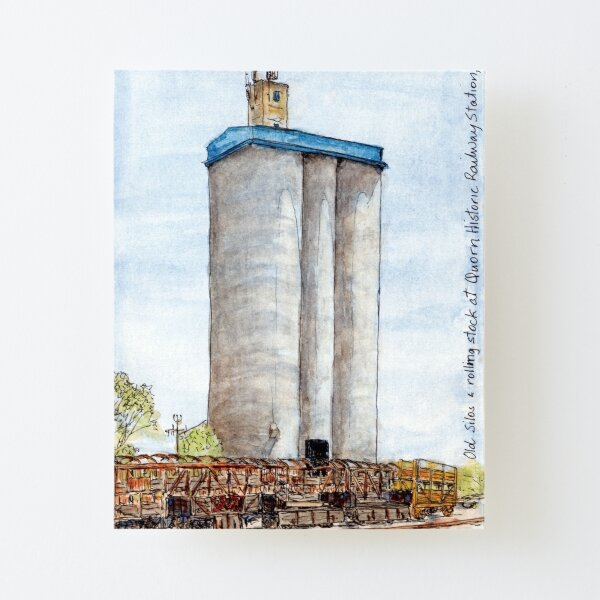 Australian Scene - Silos and rolling stock, Quorn, SA, Aus. Canvas Mounted Print
