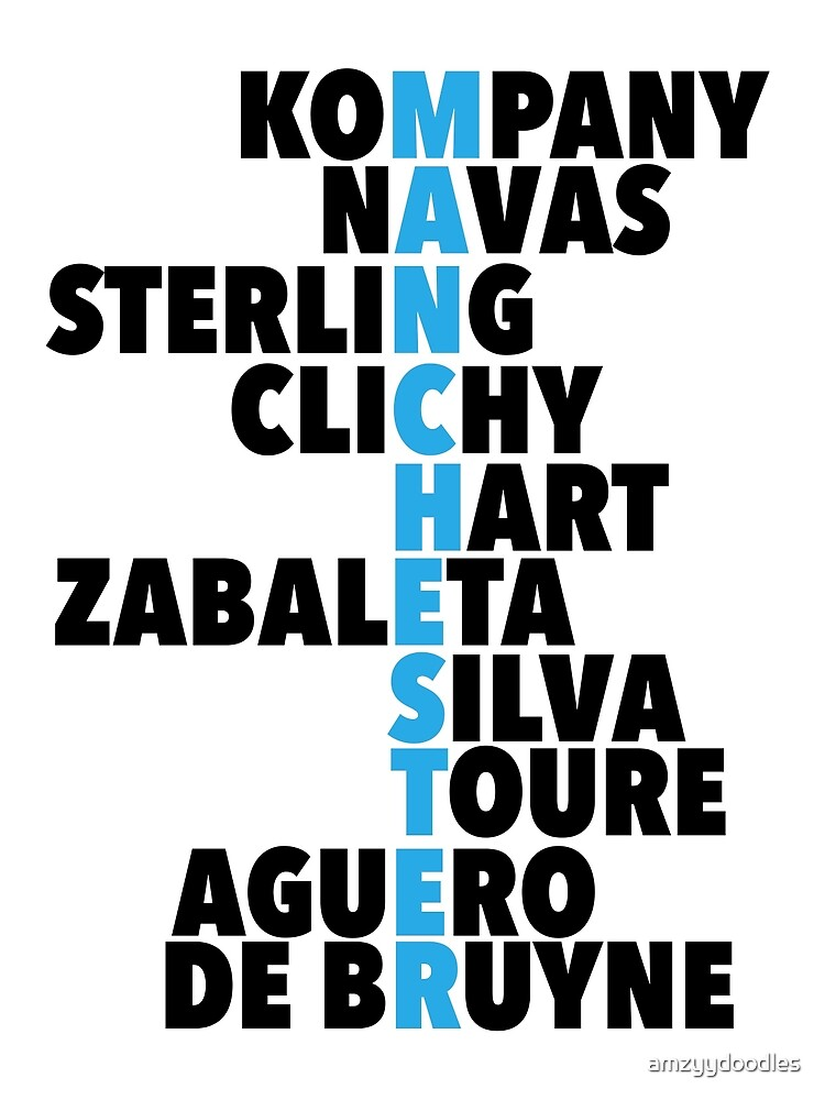 Manchester City spelt using player names by amzyydoodles