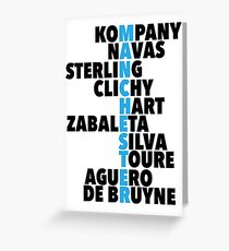 Manchester City spelt using player names Greeting Card