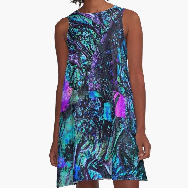 Peacock Iridescent A-Line Dress