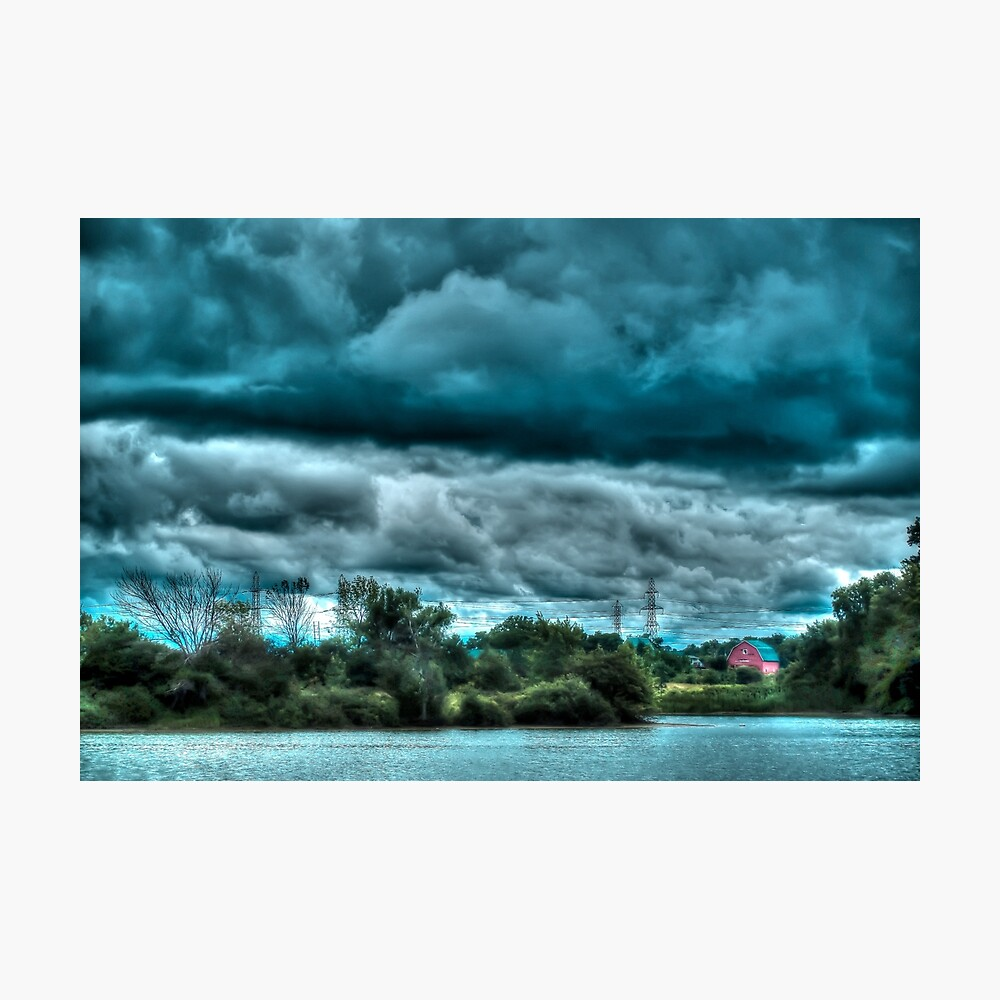 Red barn under cloudy sky Photographic Print