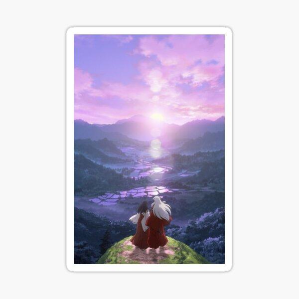 purple sky in the montain Sticker