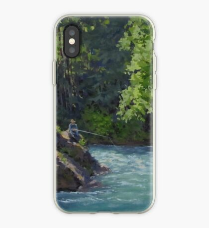 Favorite Spot - Original Fishing on the River Painting iPhone Case