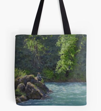 Favorite Spot - Original Fishing on the River Painting Tote Bag