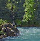 Favorite Spot - Original Fishing on the River Painting by Karen Ilari