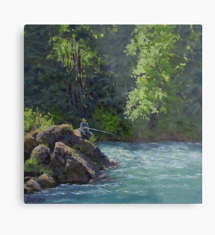 Favorite Spot - Original Fishing on the River Painting Metal Print