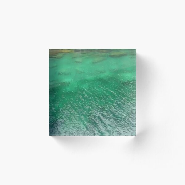 Stones Across The Water-Emerald Green water with stones and waves Acrylic Block
