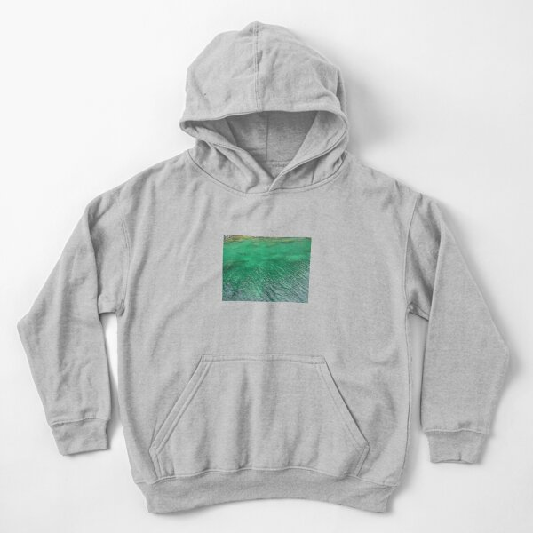 Stones Across The Water-Emerald Green water with stones and waves Kids Pullover Hoodie