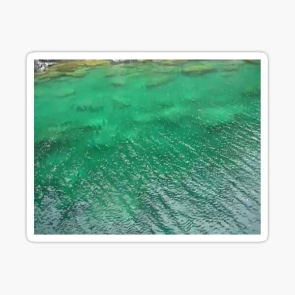 Stones Across The Water-Emerald Green water with stones and waves Sticker