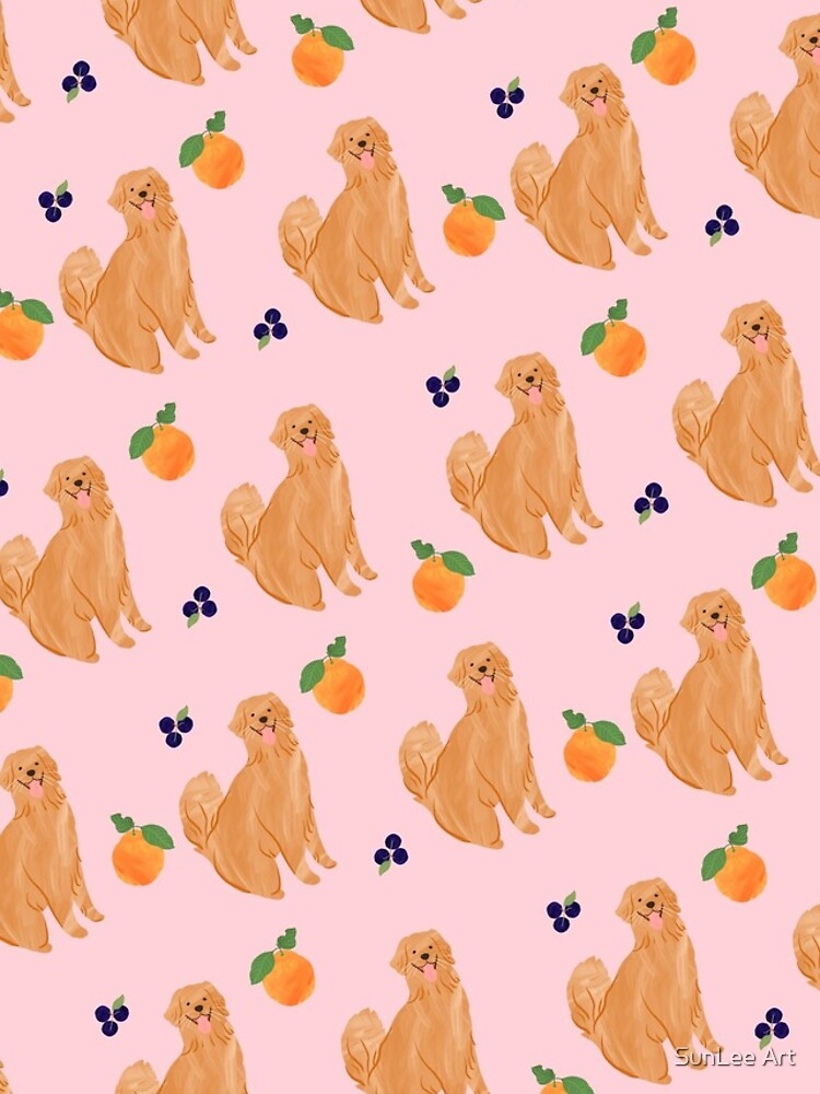 Golden Retriever and Fruits Pink by sunleeart