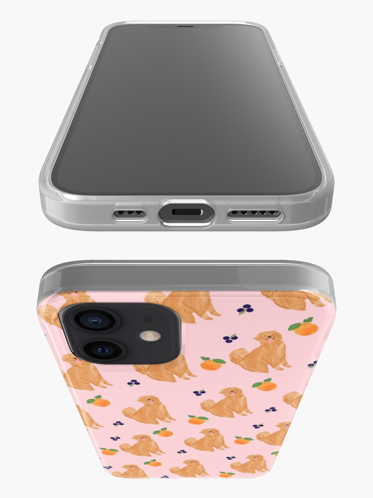 Alternate view of Golden Retriever and Fruits Pink iPhone Case & Cover