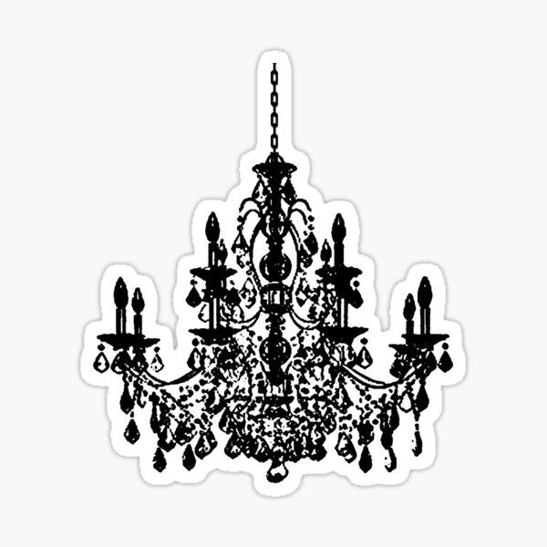 Crystal Chandelier Black Silhouette Sticker