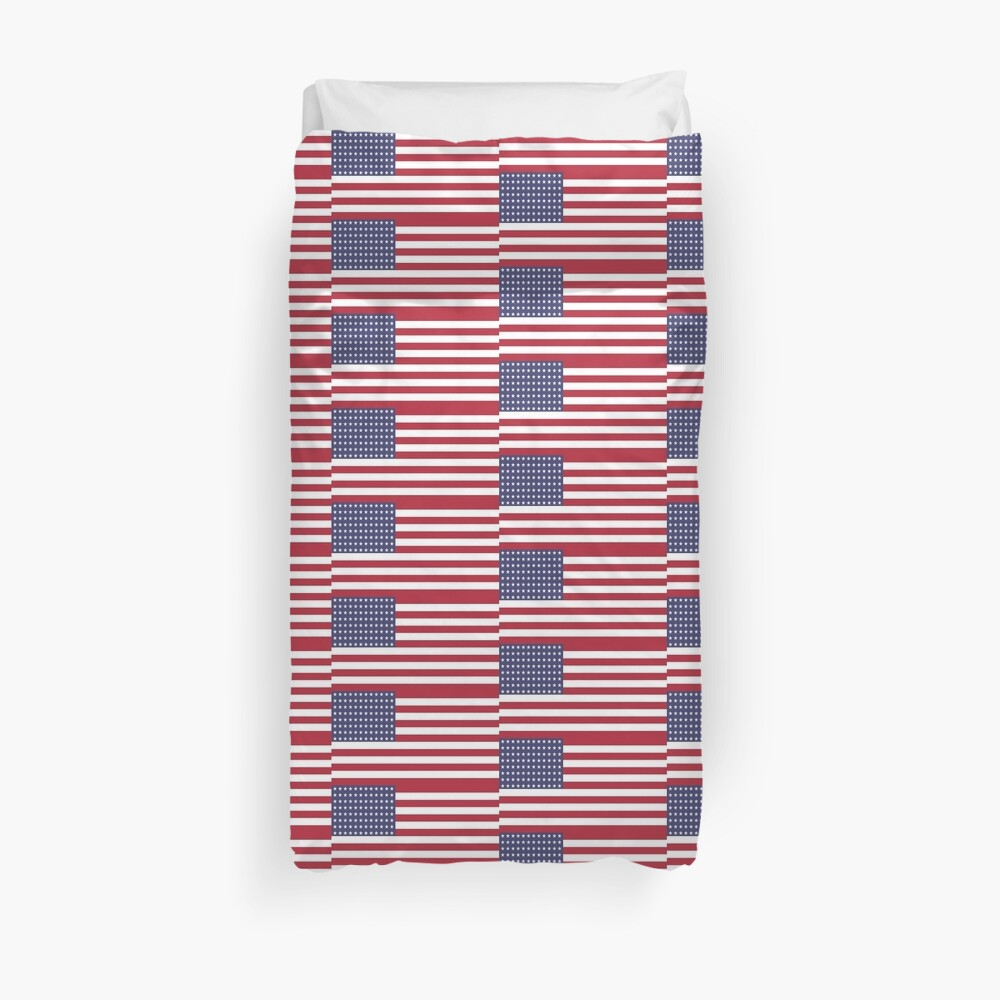 My dream is of a place and a time ...American flag  printed with larger lines and and made into a print Duvet Cover