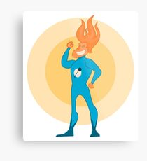 Super Hero Flame Head Man Metal Print