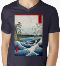 Utagawa Hiroshige The Sea at Satta in Suruga Province Men's V-Neck T-Shirt