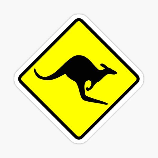 Australian Kangaroo Crossing Road Sign Sticker Aussie Roo T-Shirt Sticker