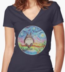 Totoro 3 Women's Fitted V-Neck T-Shirt