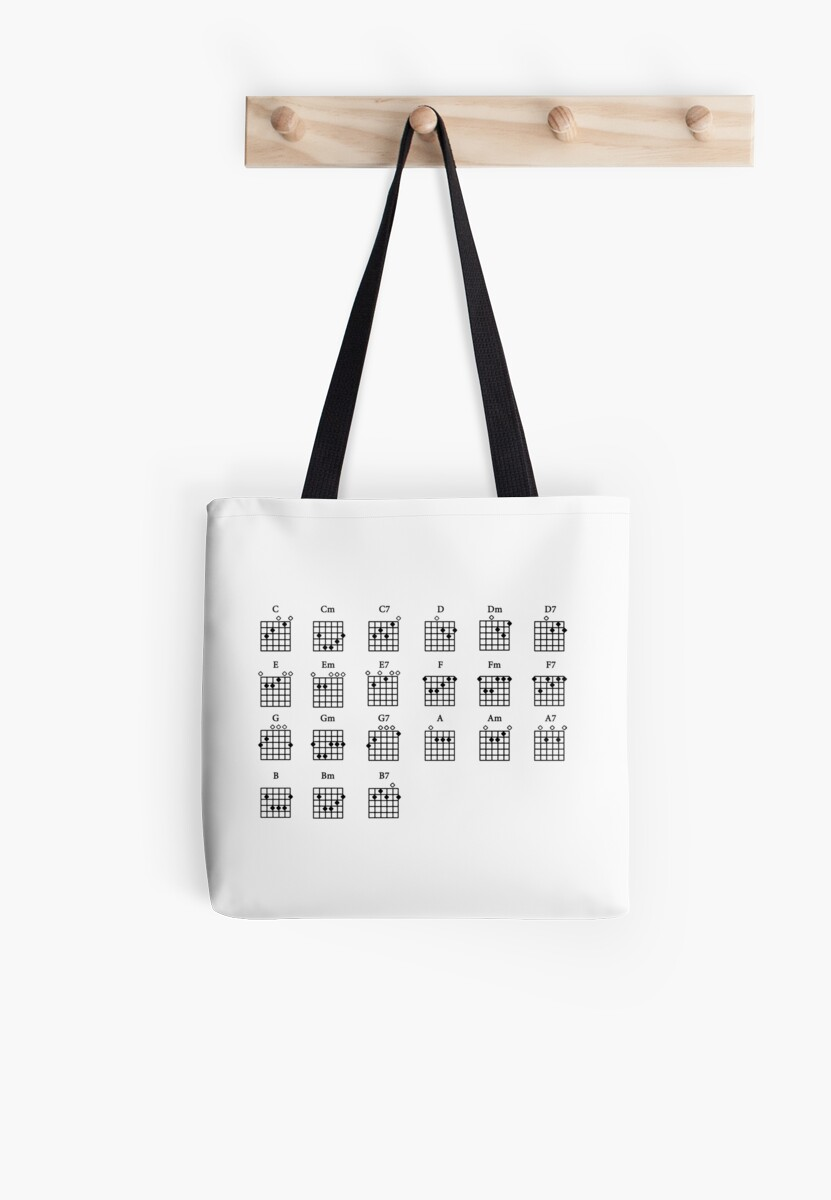 Basic Guitar Chords Tote Bags By Forestkat Redbubble