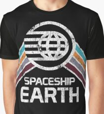 Vintage Spaceship Earth with Distressed Logo in Retro Style Graphic T-Shirt