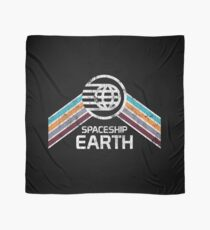 Vintage Spaceship Earth with Distressed Logo in Retro Style Scarf
