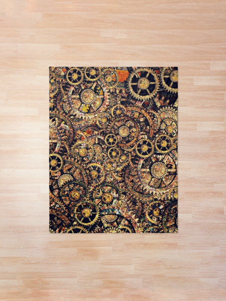 Alternate view of Steampunk Gear Art | Steampunk Golden Cogwheel Gears Comforter