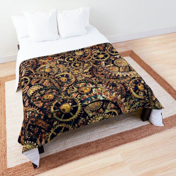 Steampunk Gear Art | Steampunk Golden Cogwheel Gears Comforter