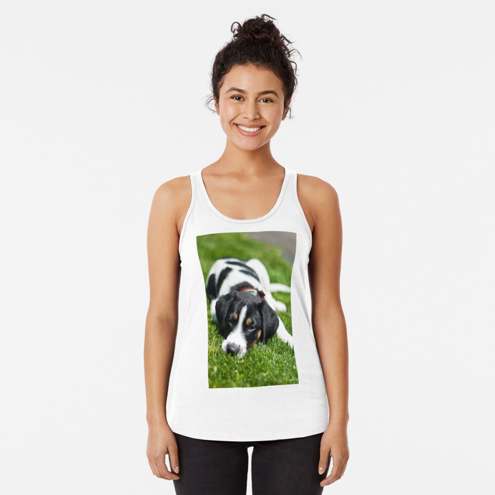 Puppy in the grass Racerback Tank Top