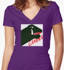 Gamera - White Women's Fitted V-Neck T-Shirt