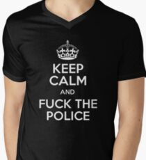 KEEP CALM ANF FUCK THE POLICE Men's V-Neck T-Shirt