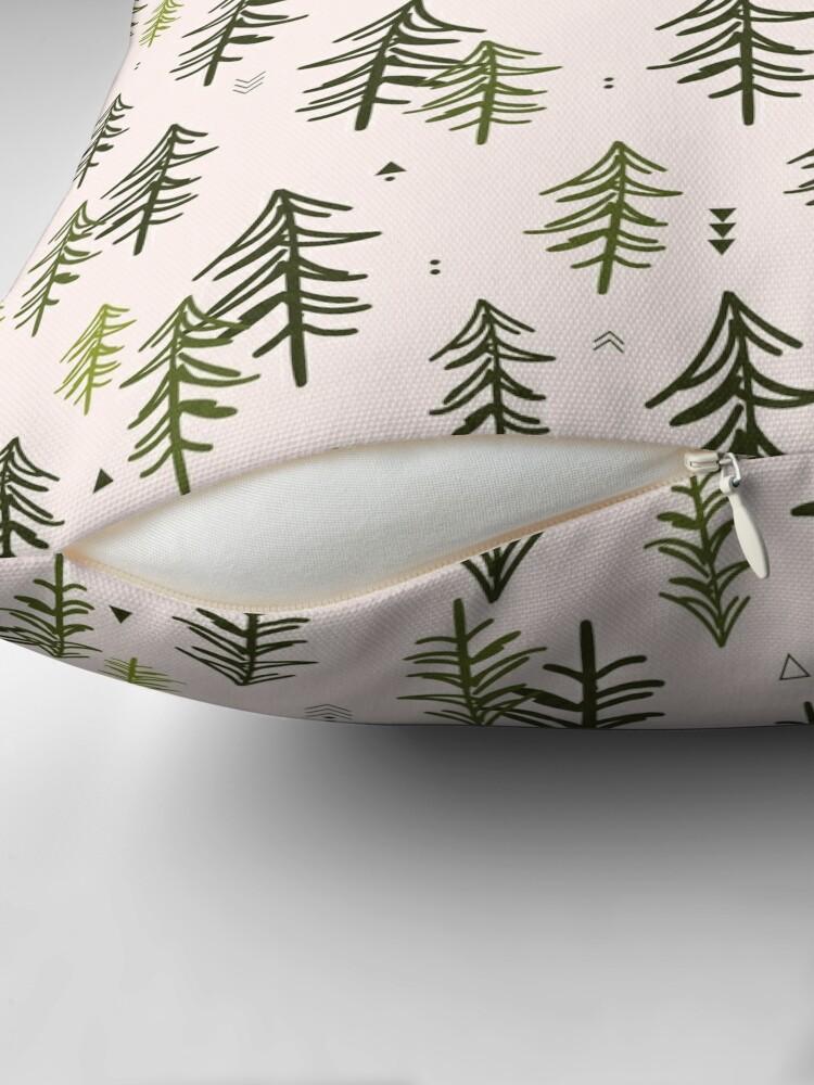 Alternate view of Doodled Fir Trees Pattern Throw Pillow