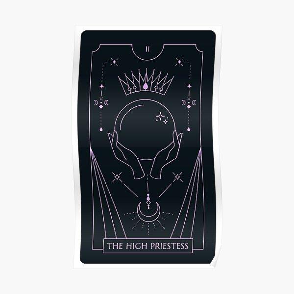 The High Priestess Tarot Black and Pastel Purple Poster