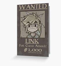 legend of zelda, link most wanted Greeting Card