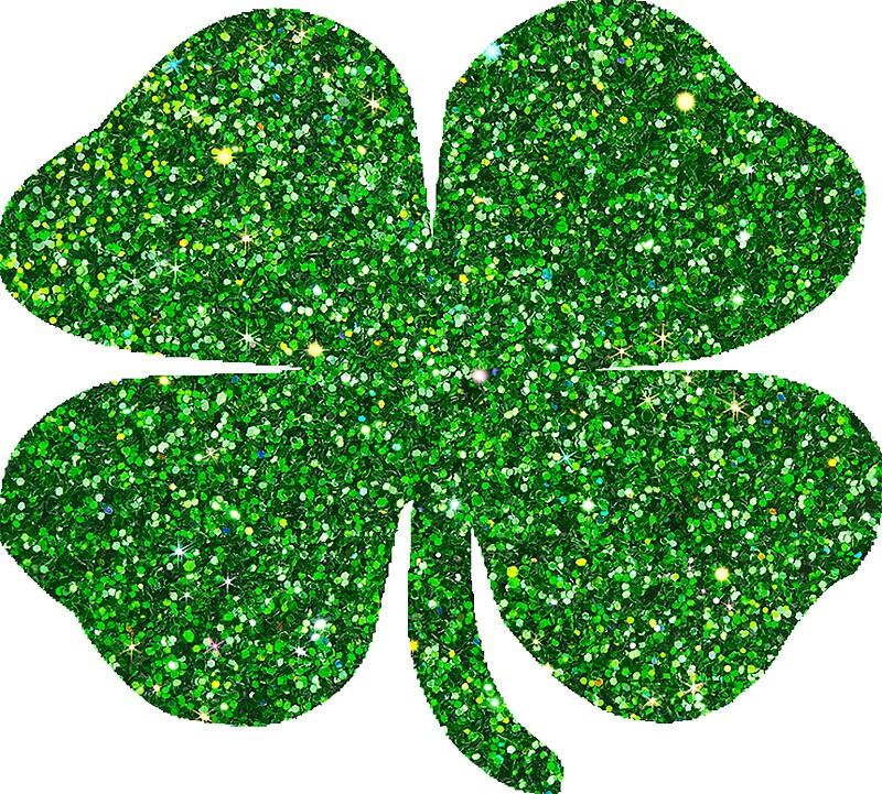20995415 St Patricks Day Emerald Green Glitter Shamrock 4 Leaf Clover on S Spiral Border Green